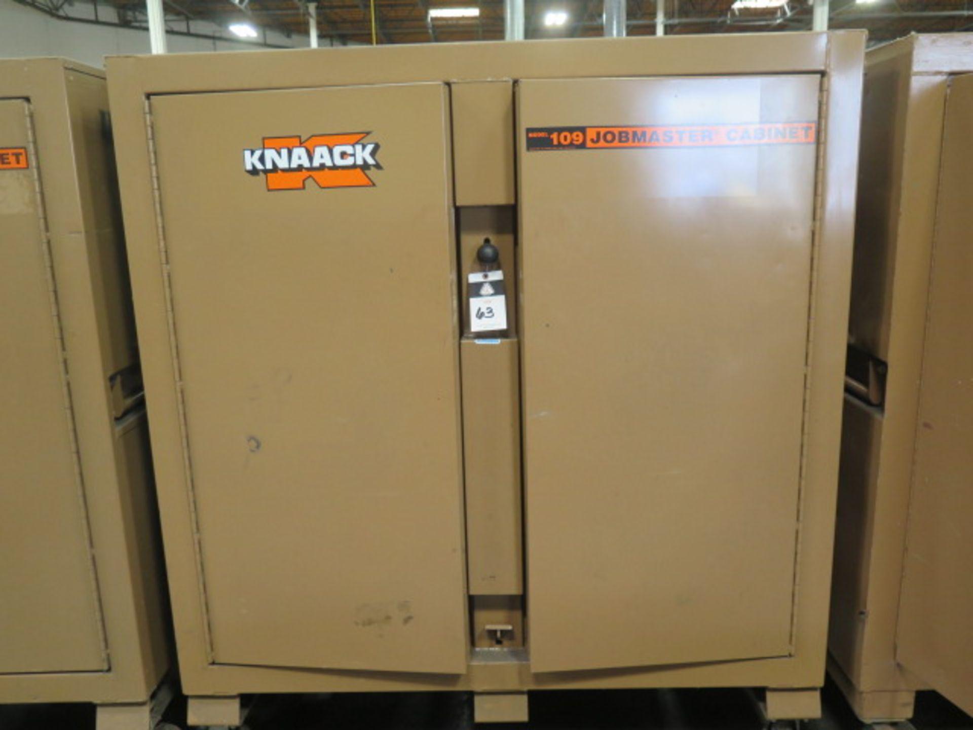 Welding Wire, Welding Guns and Misc Supplies w/ Knaack mdl. 109 Jobmaster Rolling Job Box (SOLD AS-