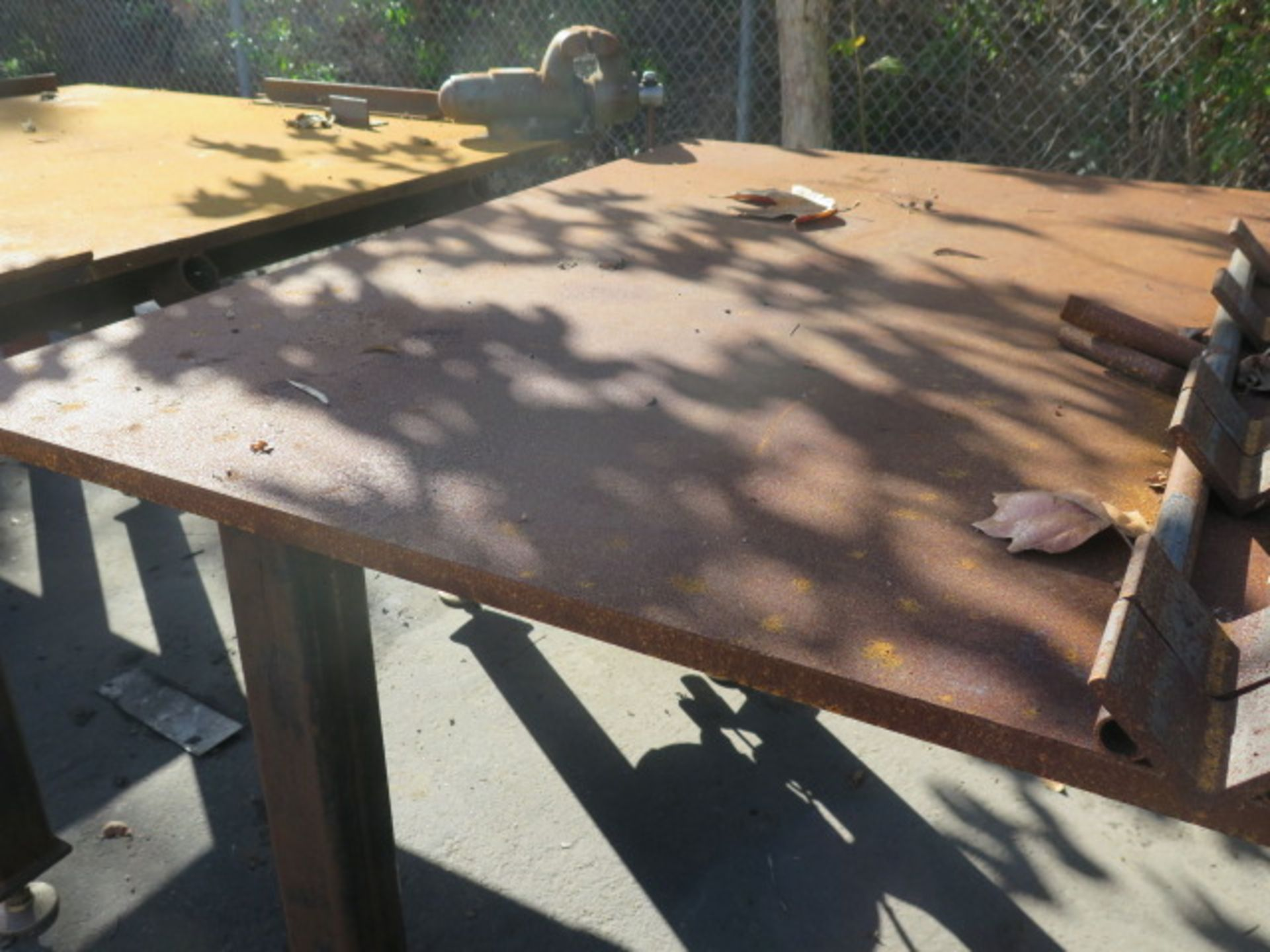 """5' x 5' x 1"""" Steel Welding Table w/ Wilton 6"""" Bench Vise (SOLD AS-IS - NO WARRANTY) - Image 2 of 8"""