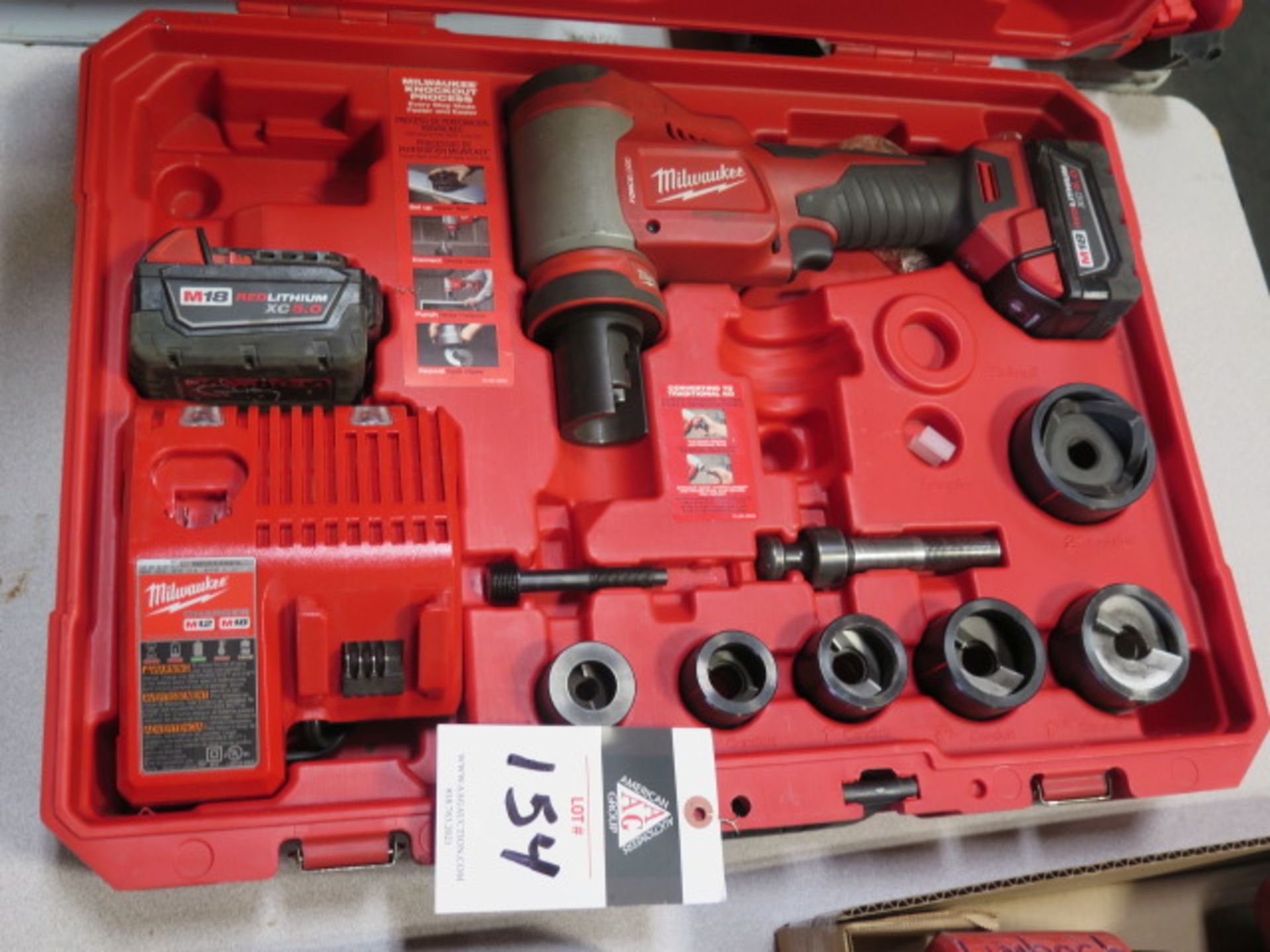 Milwaukee 18 Volt 10-Ton Knockout Tool Punch Set (SOLD AS-IS - NO WARRANTY)