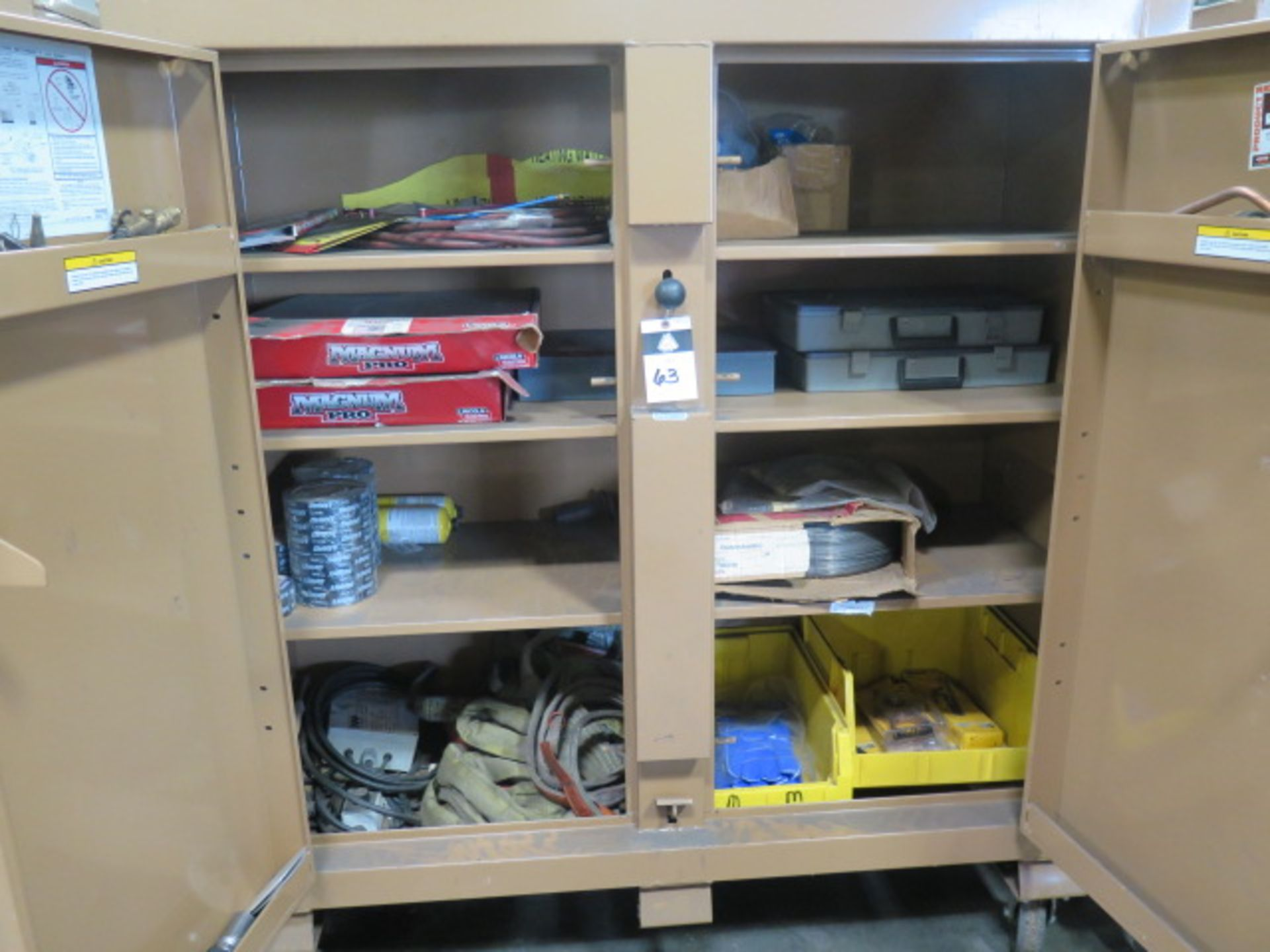 Welding Wire, Welding Guns and Misc Supplies w/ Knaack mdl. 109 Jobmaster Rolling Job Box (SOLD AS- - Image 2 of 16