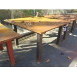 """5' x 5' x 1"""" Steel Welding Table w/ Wilton 4"""" Bench Vise (SOLD AS-IS - NO WARRANTY)"""