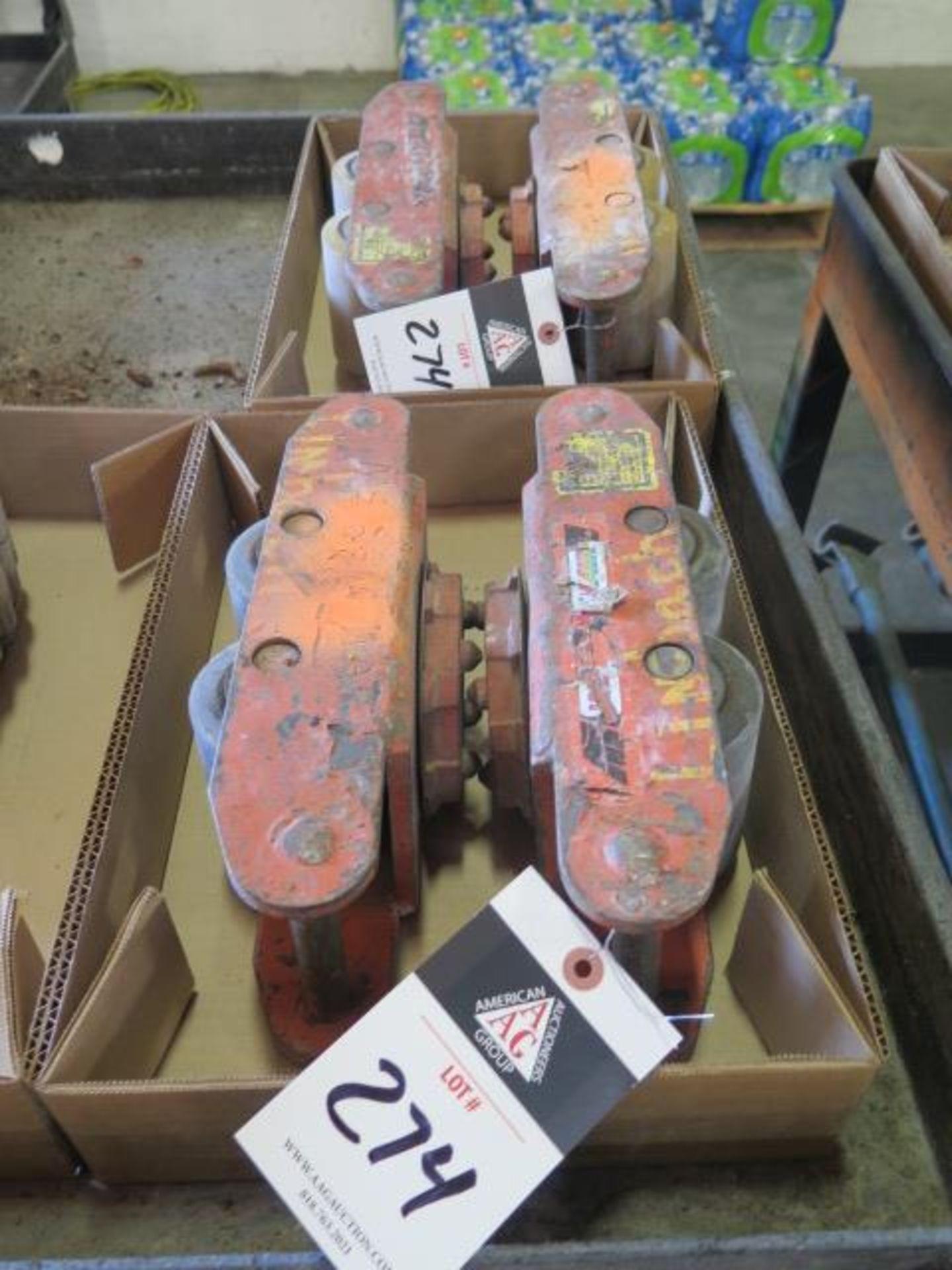 Multiton Machinery Dolleys (4) w/ Neoprene Wheels and Steering Bar (SOLD AS-IS - NO WARRANTY)