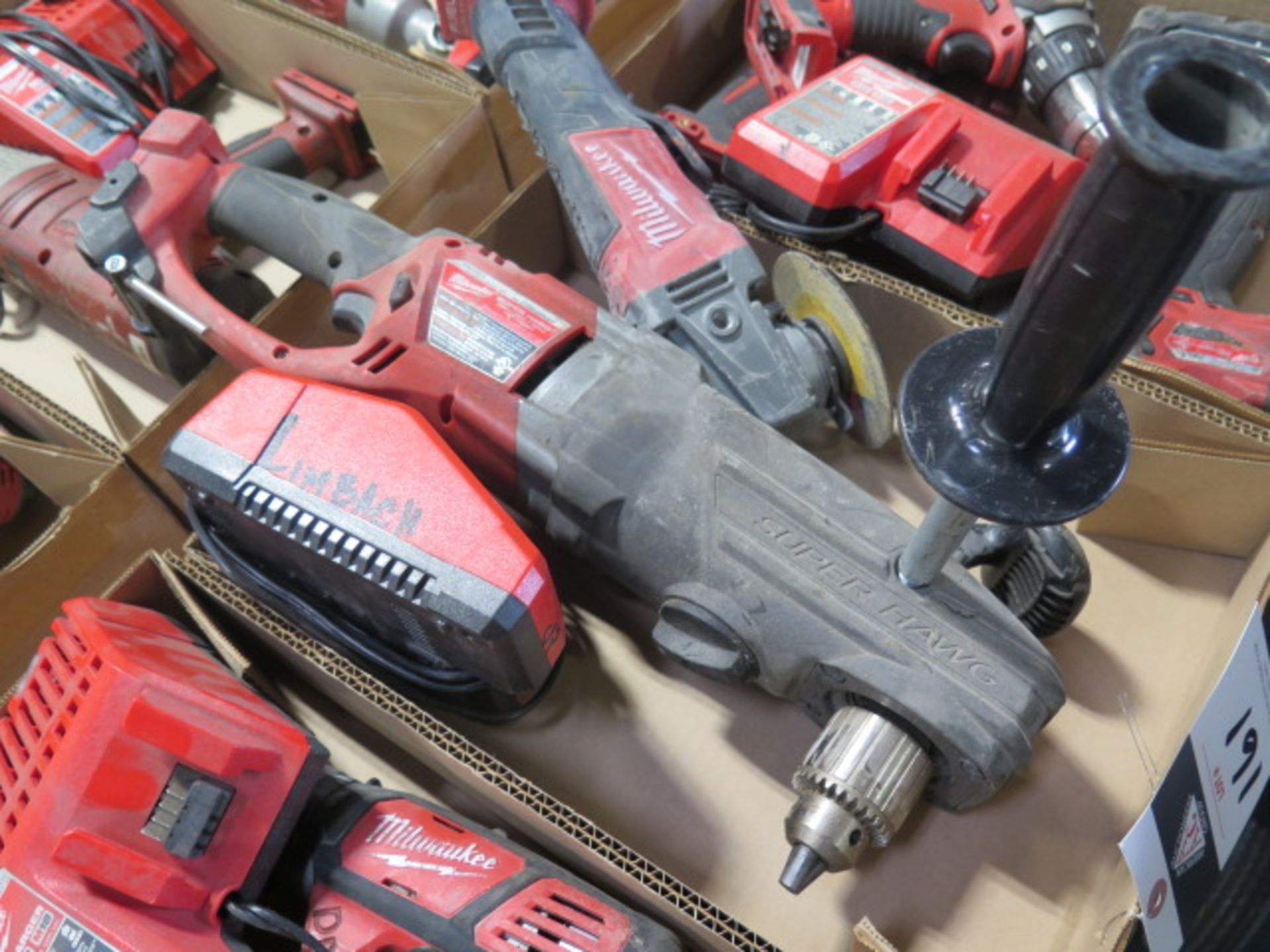 """Milwaukee 18 Volt Band Saw, """"Super Hawg"""" Angle Drill and Angle Grinder (3) (SOLD AS-IS - NO - Image 4 of 6"""