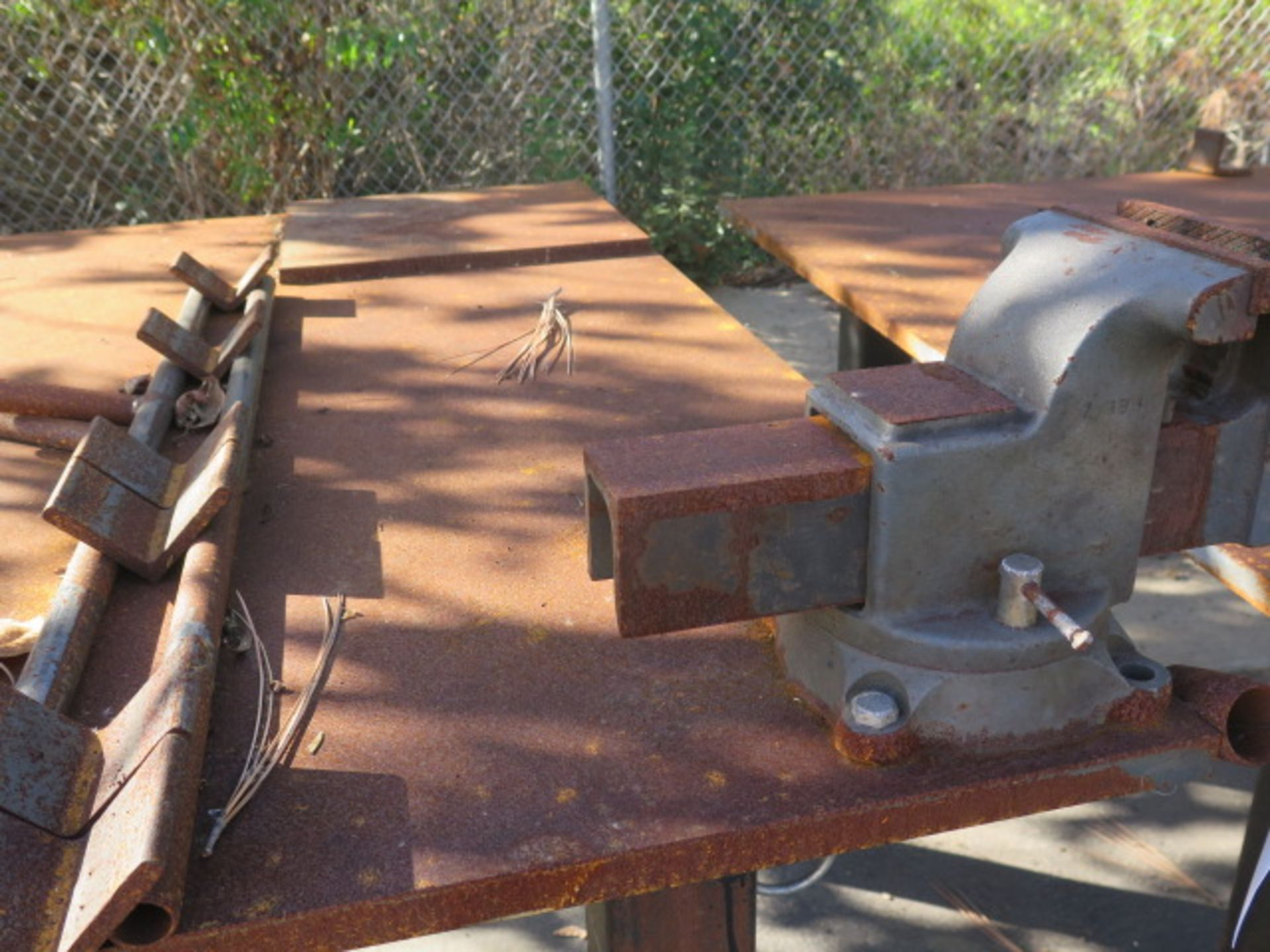 """5' x 5' x 1"""" Steel Welding Table w/ Wilton 6"""" Bench Vise (SOLD AS-IS - NO WARRANTY) - Image 3 of 8"""