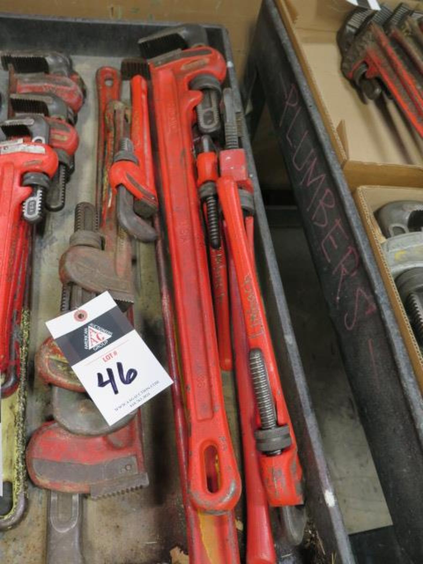 """Ridgid 12"""" to 48"""" Pipe Wrenches (SOLD AS-IS - NO WARRANTY)"""