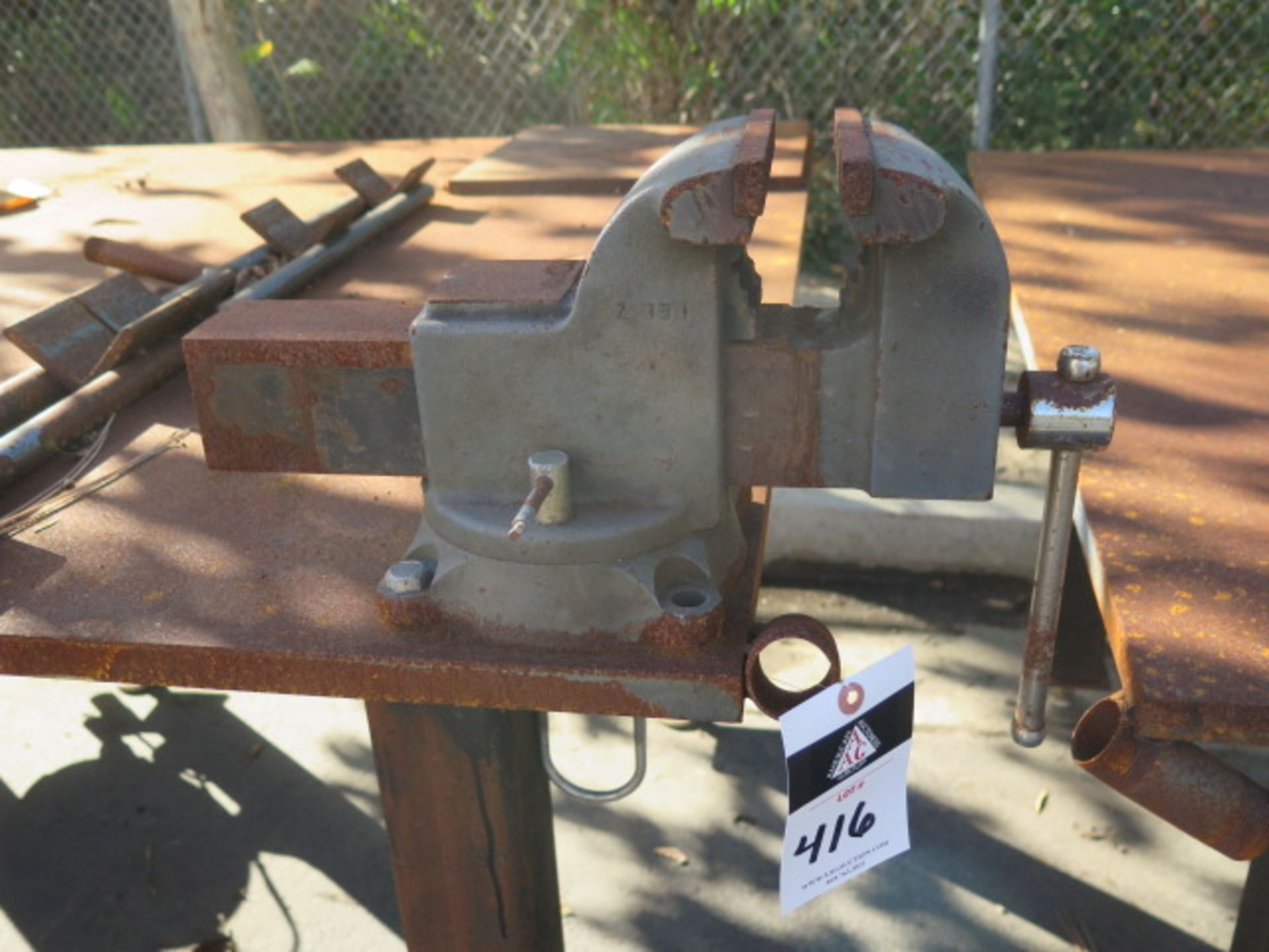 """5' x 5' x 1"""" Steel Welding Table w/ Wilton 6"""" Bench Vise (SOLD AS-IS - NO WARRANTY) - Image 7 of 8"""