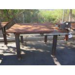 """5' x 5' x 1"""" Steel Welding Table w/ Wilton 6"""" Bench Vise (SOLD AS-IS - NO WARRANTY)"""