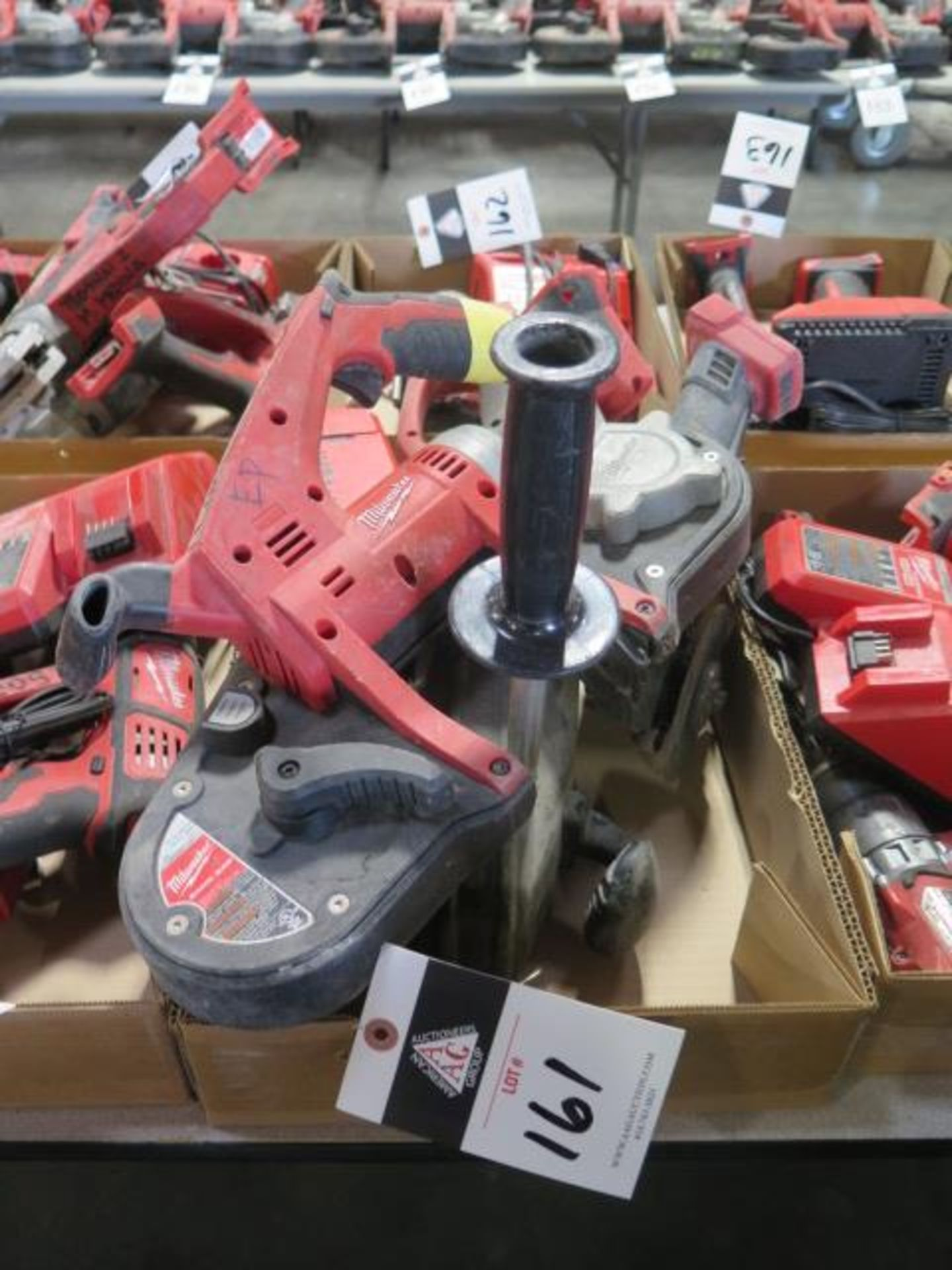 """Milwaukee 18 Volt Band Saw, """"Super Hawg"""" Angle Drill and Angle Grinder (3) (SOLD AS-IS - NO"""