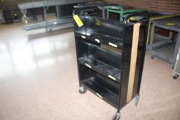 "PORTABLE DOUBLE SIDED BOOK SHELVING CART, 48"" x 17"" X 28"""
