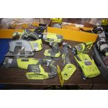 RYOBI CORDLESS TOOL SET, INCLUDING RICPROCATING SAW, CIRCULAR SAW, DRIVE, MULTI-TOOL & FLASHLIGHT,