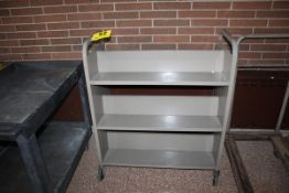 "PORTABLE DOUBLE SIDED BOOK SHELVING CART, 36"" x 18"" x 43"""