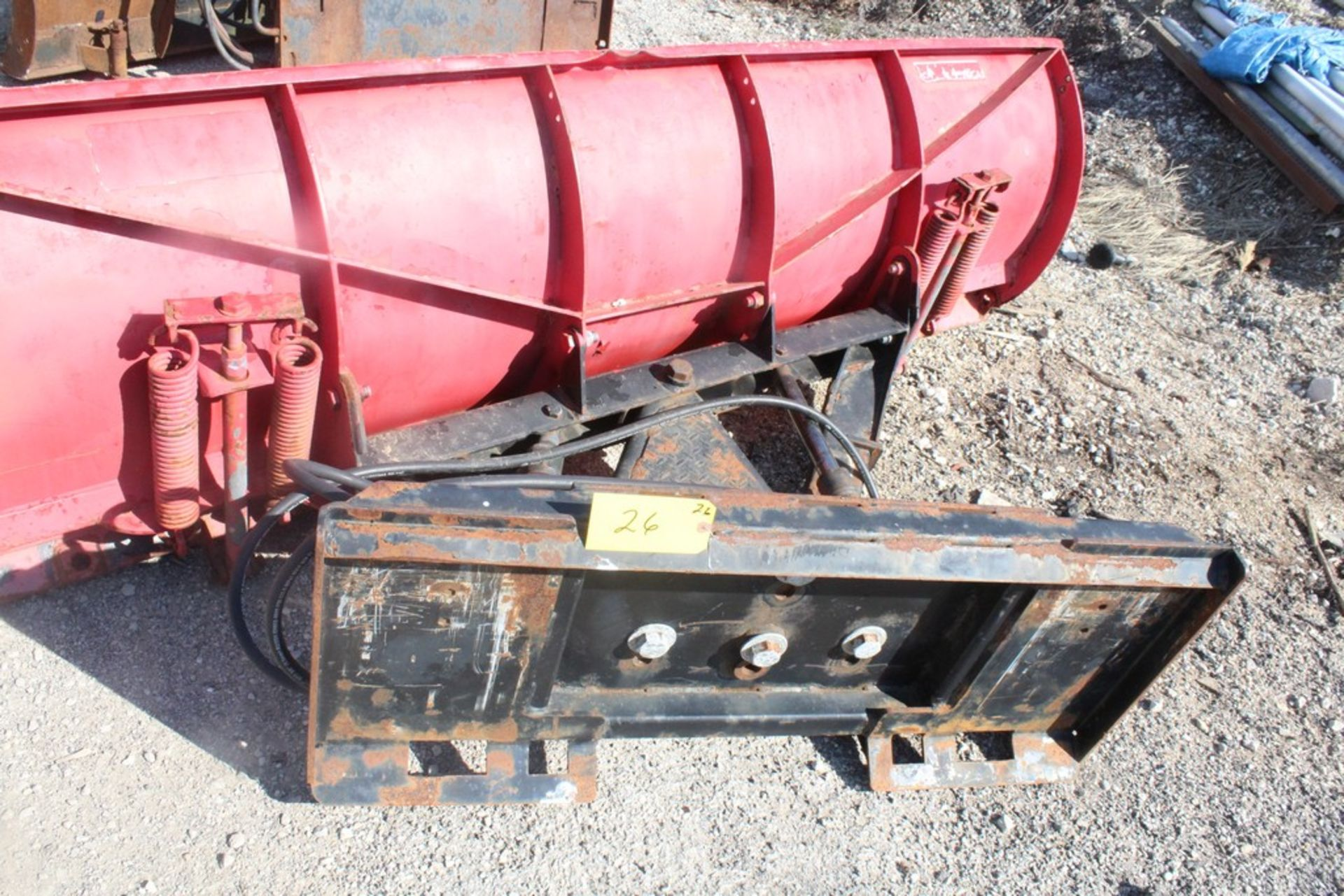 CUSTOM FABRICATED 96-IN. BOLT-TOGETHER HYDRAULIC SNOW PLOW ATTACHMENT, 96-IN. BLADE, TO FIT SKID - Image 4 of 4