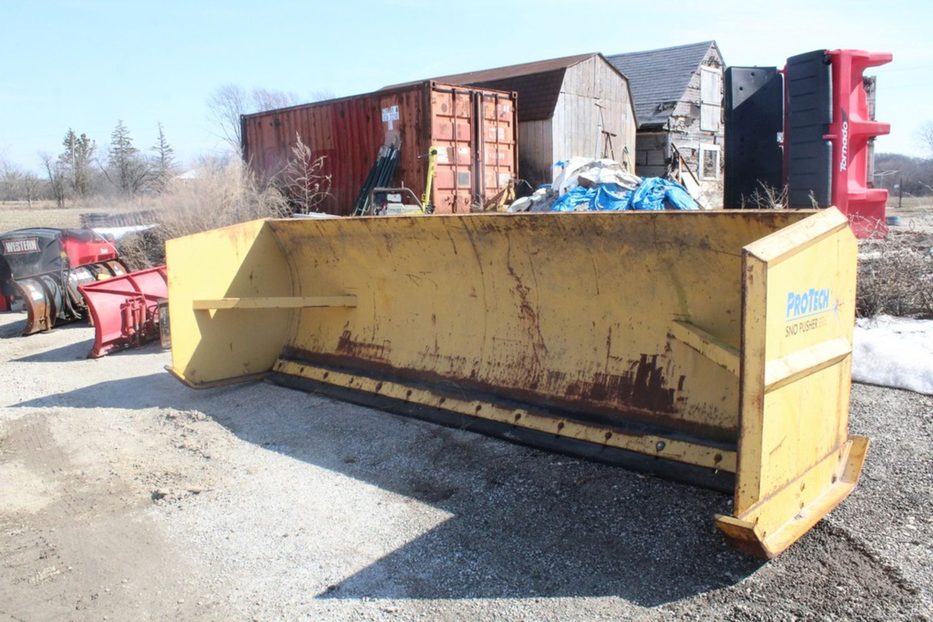 PRO-TECH 14-FT. MODEL SNO PUSHER SNOW PUSHER ATTACHMENT S/N: 3042, TO FIT WHEEL LOADER