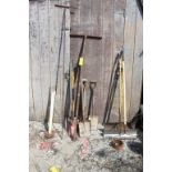 ASSORTED DIGGING TOOLS, SPREADERS AND WATER KEYS