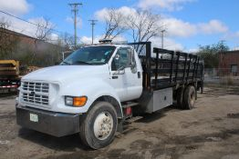 2000 FORD F-650 XL SUPER DUTY 18-FT. S/A STAKE-SIDE FLATBED TRUCK VIN: 3FDNF6527YMA51694 (2000)
