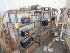 LOT BATTERY RACKS, W/BATTERIES & CHARGERS