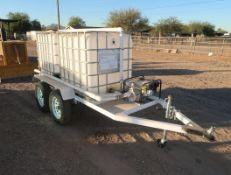 SHOP BUILT WATER WAGON, 2-250GAL TOTES, 2-AXLE TRAILER, 6.5HP GAS POWERED PUMP
