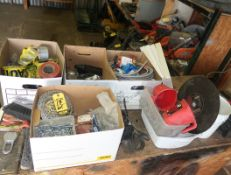 LOT; CHAINS, FASTENERS, ELECTRICAL EQUIPMENT, CAUTION TAPE, ETC