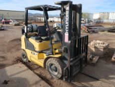 HYUNDAI 25L-7 TRI-MAST SIDE SHIFT FORKLIFT, PROPANE, CUSHION TIRES, 4000# CAP.