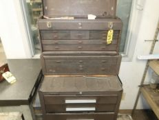 LOT; KENNEDY TOOL BOXES W/ CONTENTS ON CASTERS