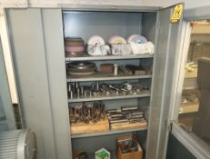 STORAGE CABINET W/ CONTENTS; GRINDING WHEELS, ASST TOOLS