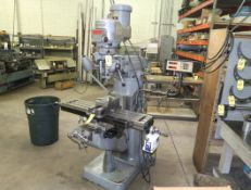 BRIDGEPORT VERTICAL MILL W/ POWER FEED ON TABLE, 2 AXIS DRO SN. 195606