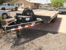 2019 BIG TEX 140A 16' FLATBED EQUIPMENT TRAILER W/RAMPS, TANDEM AXLE, PENTLE HITCH, VIN.