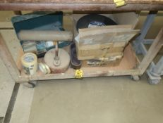 """LOT SANDING BELTS, GAS CAN, STRAPPING TAPE, MAKITA CHARGER W/ CASE, 14"""" X 5/32"""" X 1"""" CUTT-OFF"""