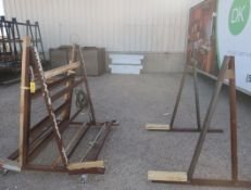LOT METAL A-FRAME RACKS & WEATHER GUARD TRUCK BOXES