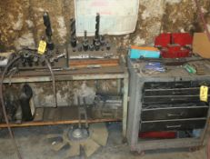 LOT TOOL BOX W/CONTENTS, SHOP TABLE W/DRILLS, END MILLS, CLAMP KIT PARTS, ETC.