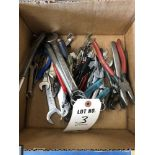 (LOT) MISC. HAND TOOLS BOX & OPEN END WRENCHES, PLIERS