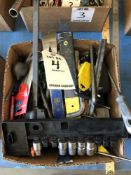 (LOT) MISC HAND TOOLS ALLEN WRENCHES, SCREW DRIVERS, FILES, SOCKETS, CLAMPS, TAPE MEASURES