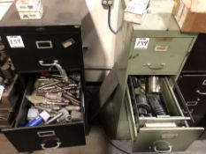 (2) 4 DRAWER FILE CABINETS WITH LARGE LOT OF MISC TURRET PUNCH TOOLING