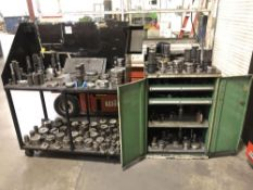 (LOT) CART AND CABINET WITH LARGE LOT OF MISC TURRET PUNCH TOOLING