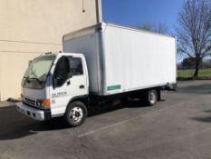 (1) 2003 IZUSU NPR BOX TRUCK- 16' cargo bed, dually tires, V8 EFI engine, ac/heat, am/fm/cd, vin-