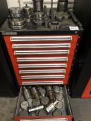 (LOT) STANLEY 9 DRAWER TOOL CABINET WITH LARGE LOT OF MISC TURRET PUNCH TOOLING