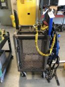 (LOT) MISC SAFETY STRAPS, WITH STEEL STORAGE CART