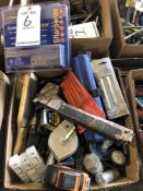 (LOT) MISC TOOLS- SCRAPERS, DIAMOND SHARPENERS, PIPE CUTTERS, MEASURING TAPE, STAPLER
