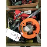 (LOT) MISC HAND TOOLS- PIPE CUTTERS, FISH TAPE, MEASURING TAPE, WOOD CHISELS