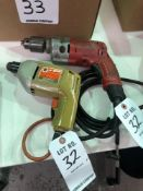 (2) ELECTRIC DRILLS (1) MILWAUKEE (1) BLACK & DECKER