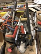 (LOT) MISC HAND TOOLS- GLUE GUN, LEVELS, SQUARES, STRAIGHT LINES, PUTTY KNIVES