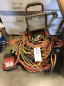 (LOT) MISC EXTENSION CORDS AND SHOP LIGHTS