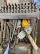 LOT OF MISC HAND TOOLS- HAMMERS, SNIPS, PULLIES, CHISELS, NUMBER & LETTER PUNCHES