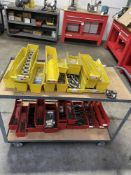 LOT OF PLASTIC SHOP CART WITH CONTENTS MISC HARDWARE STAINLESS STEEL ALLEN BOLTS, WASHERS, HEX NUTS