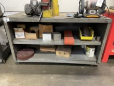 METAL SHOP BENCH WITH CONTENTS SCOTCHBRITE WHEELS, MISC HARDWARE, SANDING BELTS