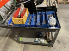 LOT OF PLASTIC SHOP CART WITH CONTENTS MISC HARDWARE STAINLESS STEEL ALLEN BOLTS, WASHERS, HEX