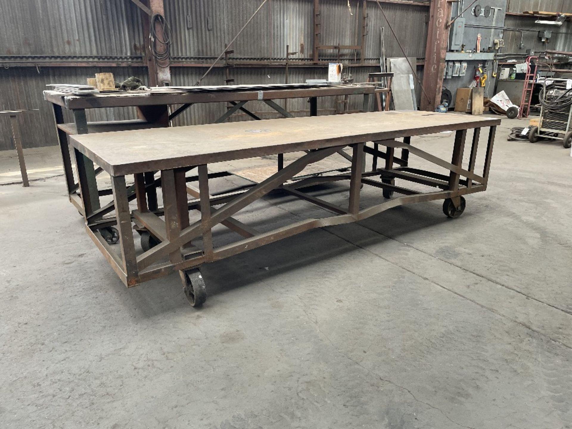 (2) HEAVY DUTY ROLLING SHOP TABLES