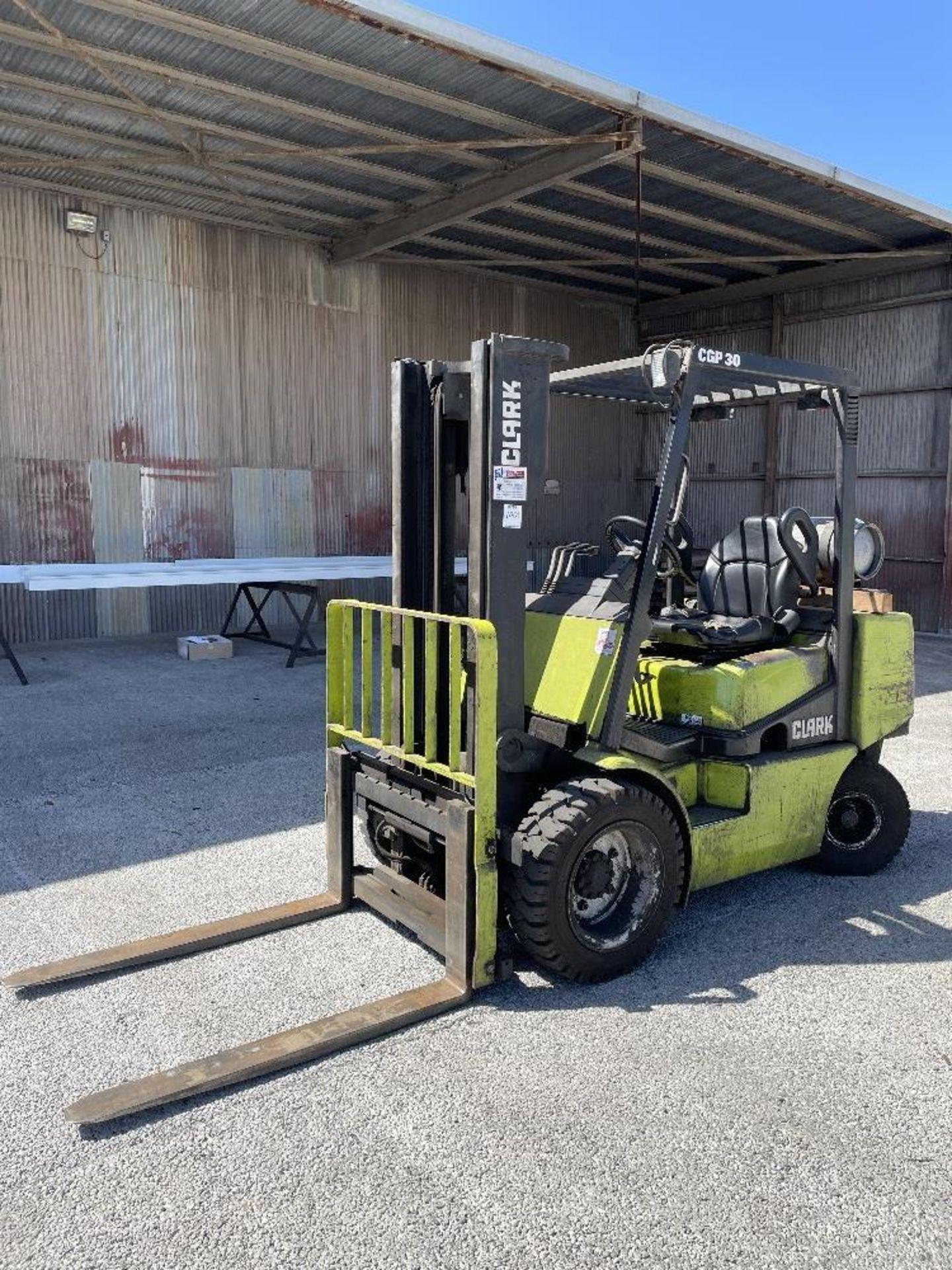 (1) Clark CGP30 Forklift- 5,500 lb cap, 2 stage mast, soft tires, side shift, 4' forks, 10,338