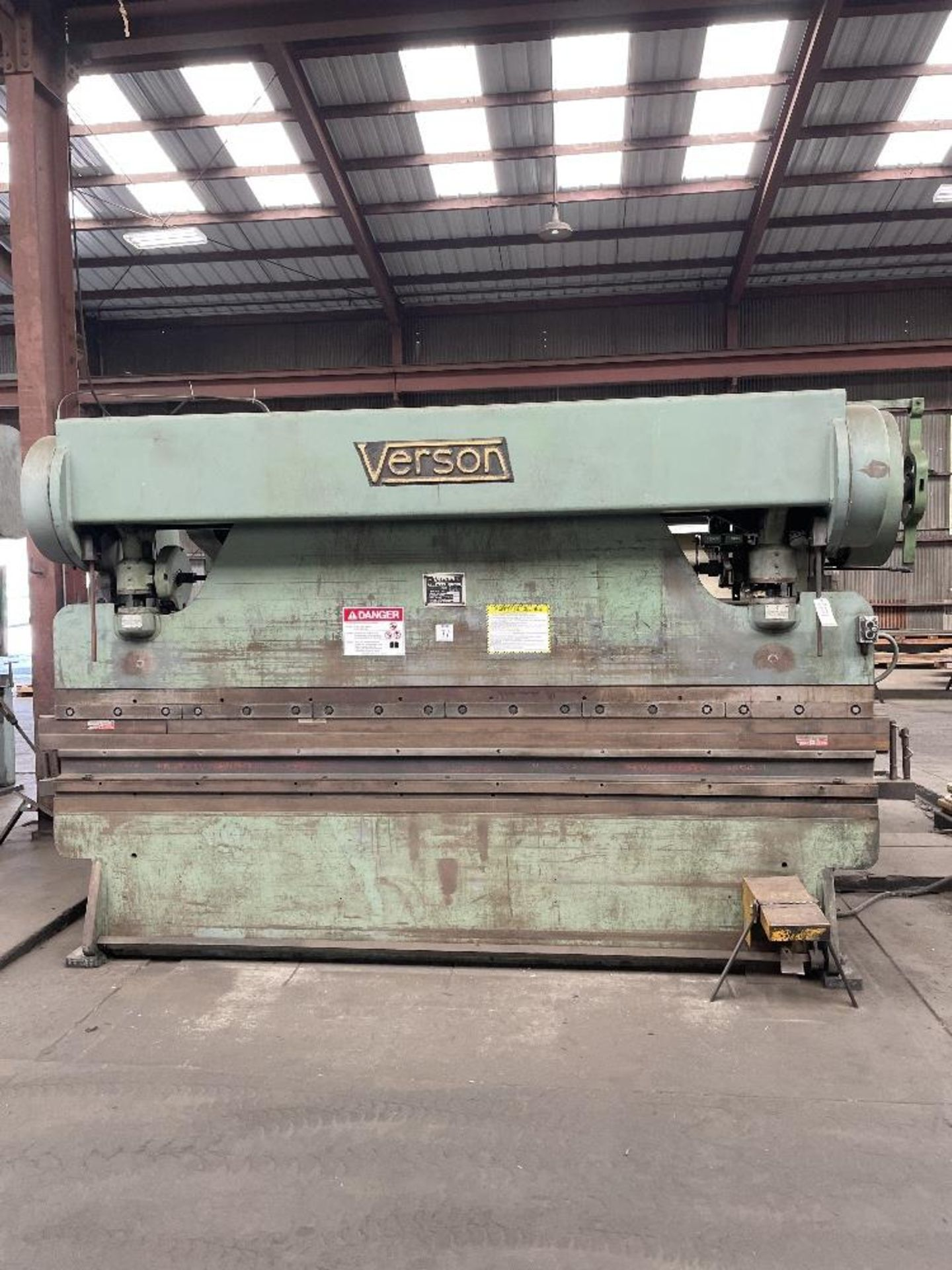 "(1) Verson Press Brake- 10' brake, 65 ton cap, 3"" stroke, 12"" shut height, s/n- 16783-20-1065"