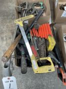 (LOT) MISC HAND TOOLS- SAWS, HAMMERS, FILES, T ALLEN WRENCHES, MEASURING TAPE, SCREW DRIVERS